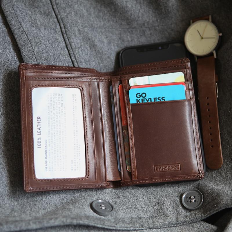 LANSPACE Men Wallets Vertical  Slim  Pocket Purse Brand Coin Purses Holders