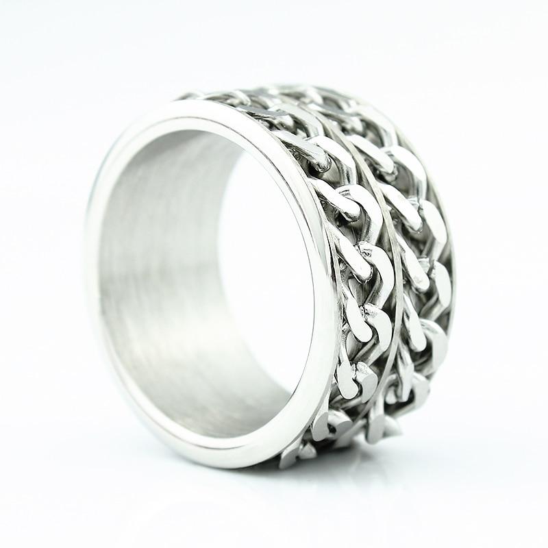 Gratis frakt Wide 12mm Titanium Steel Men Ring Dubbel Chain Ring - Märkessmycken - Foto 2