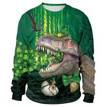 Irish St. Patricks Day Shamrocks 3D Print Dinosaur Men/women Hiphop Fashion Streetwear Sweatshirts Boy Modis Cool Green Clothes