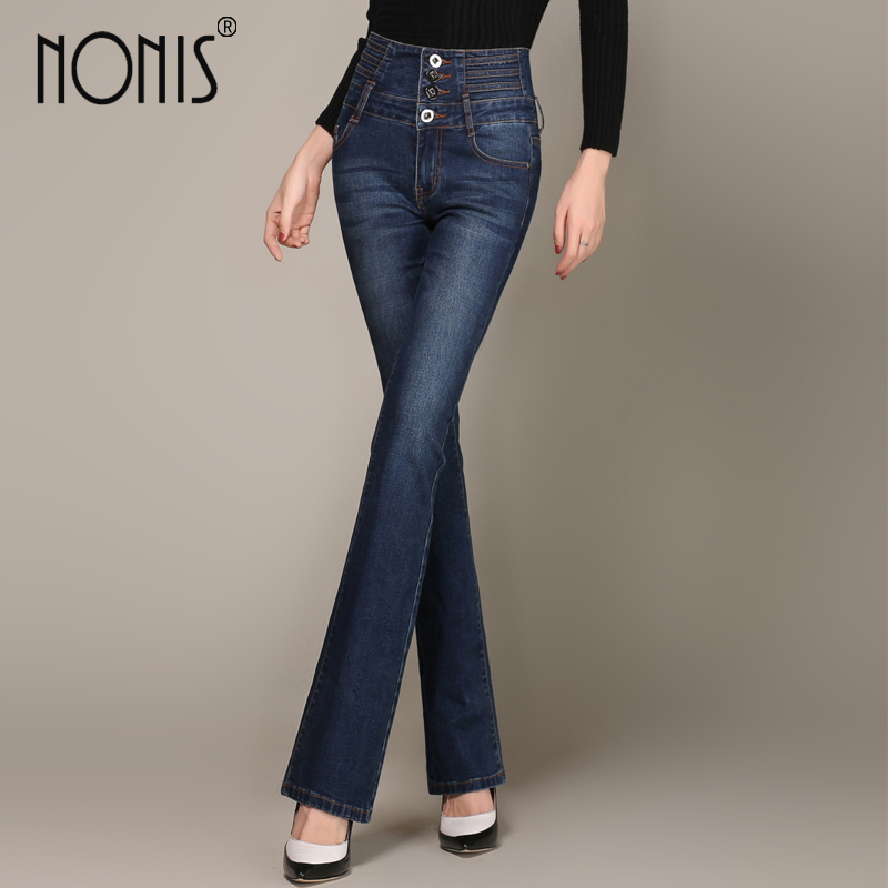 Nonis Plus Size 26-33 Skinny 2017 New Women White Blue Denim Jeans With High Waist Flared Pants Feminino Trousers