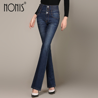 Nonis Plus size 26 33 skinny 2017 new women white blue denim jeans with high waist flared pants feminino trousers