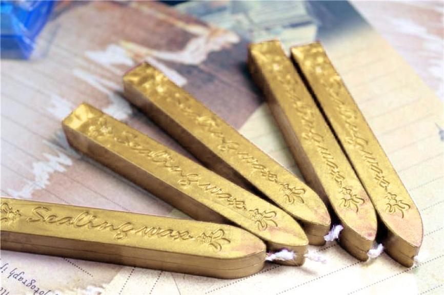 5Pcs postage stamps Vintage Gold Manuscript Sealing Seal Wax Sticks Wicks For Postage Letter 616