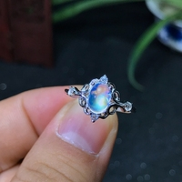 925 Silver Natural Blue Moonstone lady ring glass quality is good