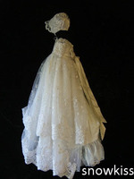 Gorgeous Beaded Blings laces White/Ivory Baptism Rope Christening Dress Baby Girls Boys Toddler Long Gowns 2 Layers With Bonnet