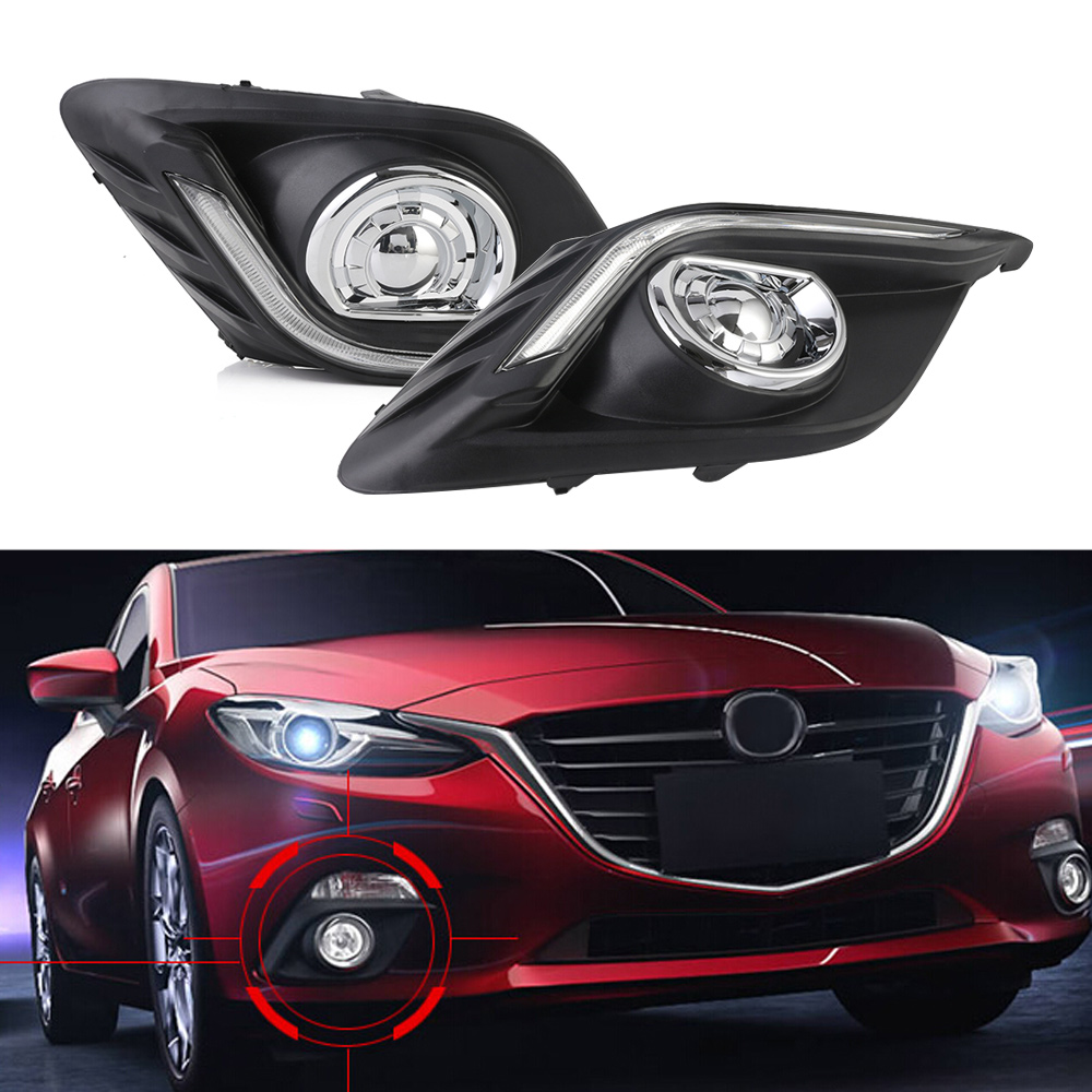 Auto Car LED Driving Daytime Running Light Fog Lamp Amber Turn Signal For Mazda3 Axela 13-16 White Day Light Free Shipping D35 auto car led white drl driving daytime running light fog lamp daylights for hyundai ix35 2014 2017 2pcs free shipping d35