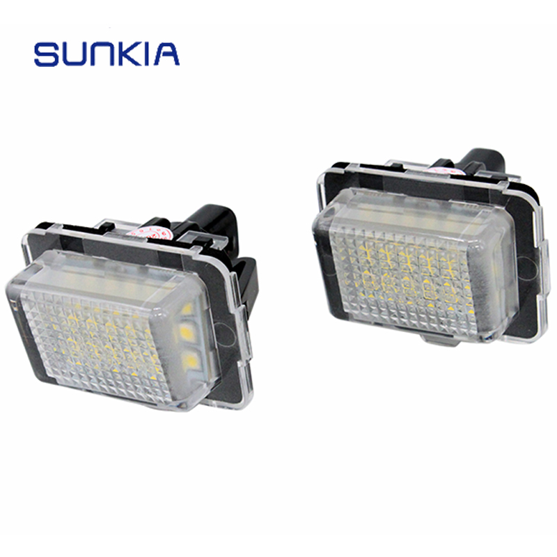 SUNKIA 2Pcs/set Hot Sale <font><b>LED</b></font> License Number Plate Light for <font><b>Benz</b></font> W204/<font><b>W205</b></font>/W216/W218/W212/W221/W231/W222/CLA 6000K White image