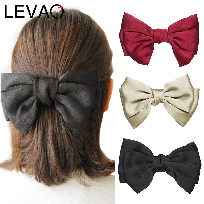 LEVAO New Solid Color Double Layer Bow Knotted Spring Ponytail Hairpin Women Hair Ornaments Accessories Barrettes Girls Headwear