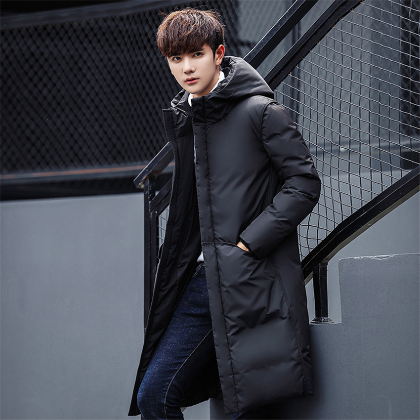 Coat Hooded-Jacket Parka Duck-Down Ultralight Winter New Male Long Thick Black Windproof