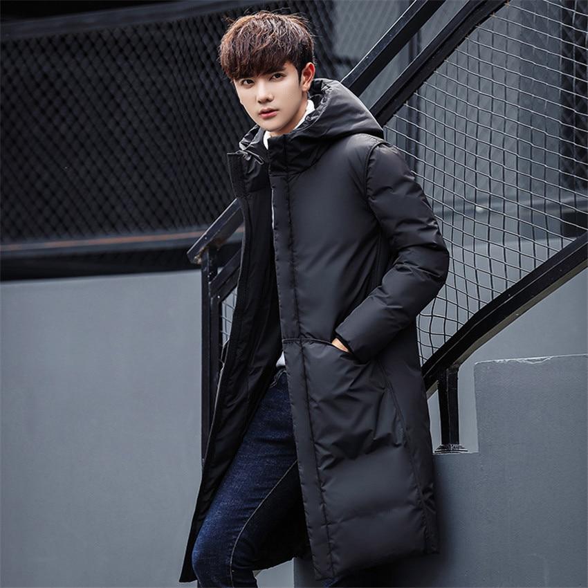 2019 Winter New Men's   Down   Jacket Ultralight Duck   Down   Warm   Coat   Black Long Thick Hooded Jacket Male Windproof Overcoat Parka