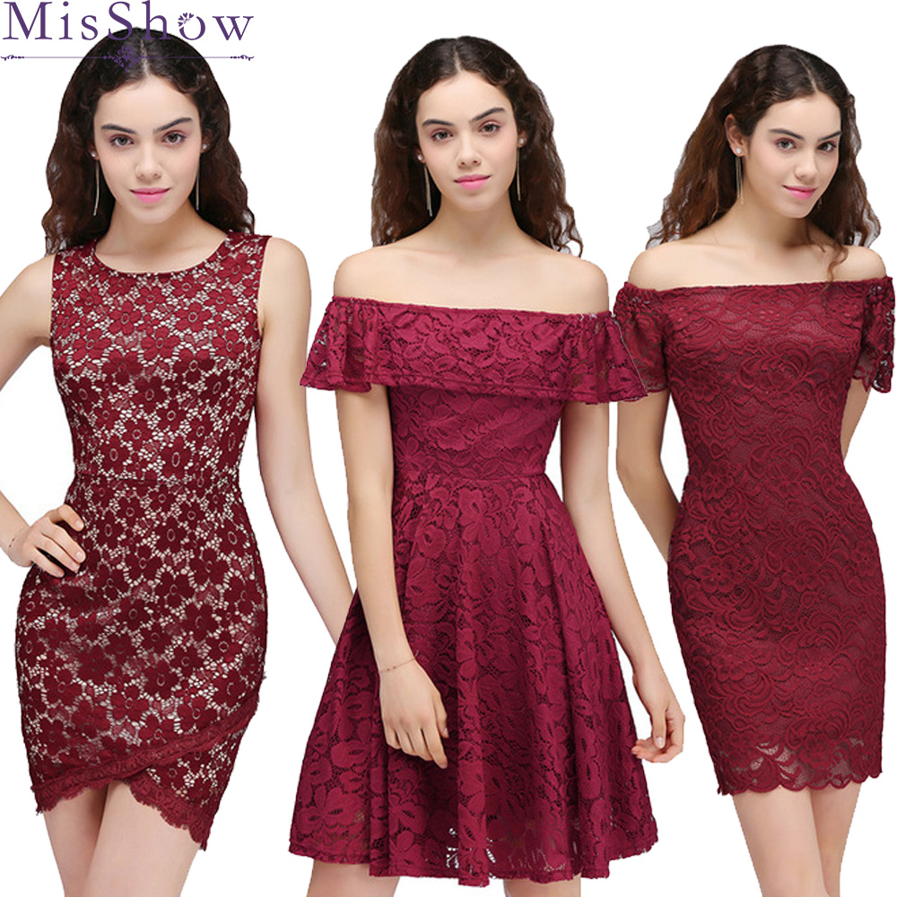 In Stock! Fast ship! Cheap Cocktail Dresses Simple A-Line lace Women 2019 Short Vestidos 7 Styles Sexy Women Cocktail Prom Dress