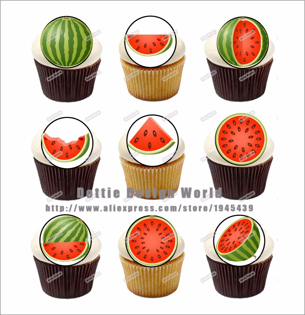 24 Watermelon Edible Cake Topper Wafer Rice Paper Red