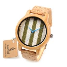 BOBO BIRD WA29 reloj de madera con índices azules, ropa blanca y verde, marca Dial Nice relojes de bambú para mujer