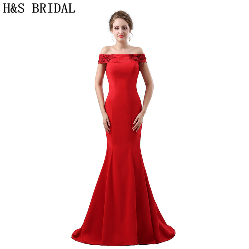 H&S BRIDAL Red Mermaid   bridesmaid     dresses   Boat Neck Beaded Party Prom Gowns vestido de festa 2018 Lace Up   bridesmaid  -  dresses