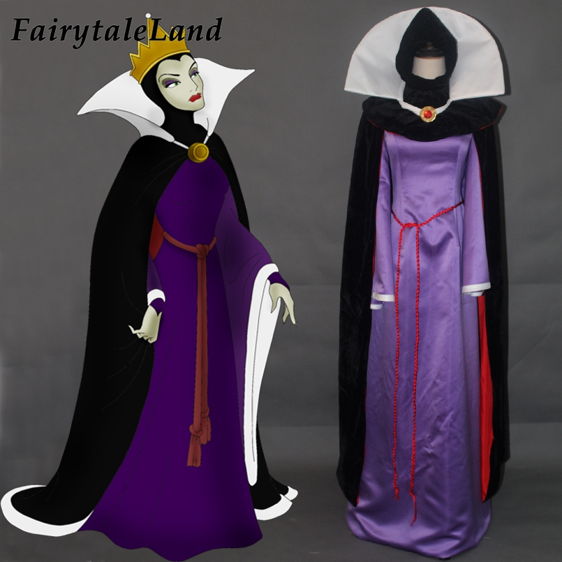Snow White and the Seven Dwarfs Queen Cosplay Costume Halloween Fancy Costumes Evil Queen Witch Costume Velvet Cloak