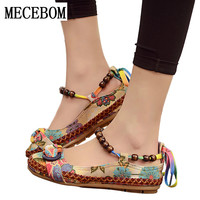 2017 New Fashion Women Ethnic Lace Up Beading Round Toe Comfortable Flats Colorful Loafers Casual Embroidered