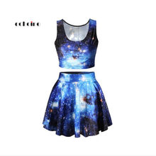Echoine Two Piece Set Women Suit Pullovers Vest Tops Digital Printed Starry Sky O-Neck Fashion Pleated Skirt Slim Female Outfits(China)