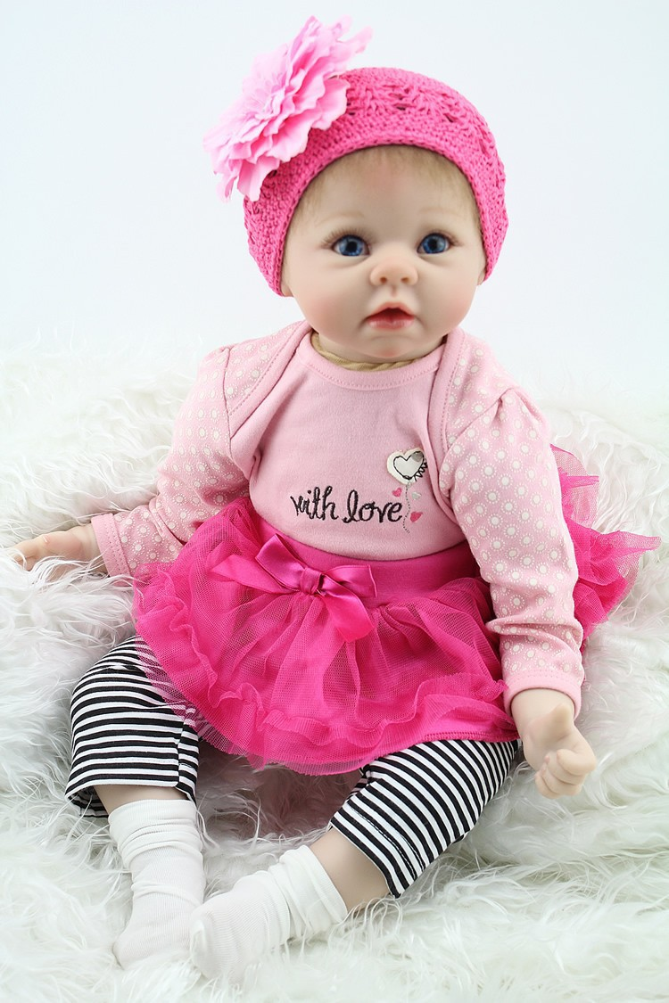 Nicery 20-22inch 50-55cm Bebe Reborn Baby Doll Soft Silicone Boy Girl Toy Reborn Baby Doll Gift for Child Pink Sweater Hat Doll [mmmaww] christmas costume clothes for 18 45cm american girl doll santa sets with hat for alexander doll baby girl gift toy