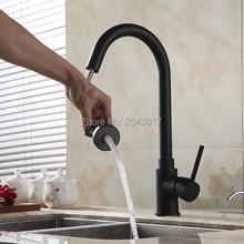 Новинка Кухня вытащить кран черного цвета 360 Поворотный Гибкая горячей и холодной смесители бортике ZR356