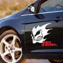 Aliauto 2 x Divertente Cranio Autoadesivo Dell'automobile di Ghost Rider NO LACRIME Riflettente Dell'automobile Della Decalcomania Per Toyota Ford focus Volkswagen Hyundai Lada(China)