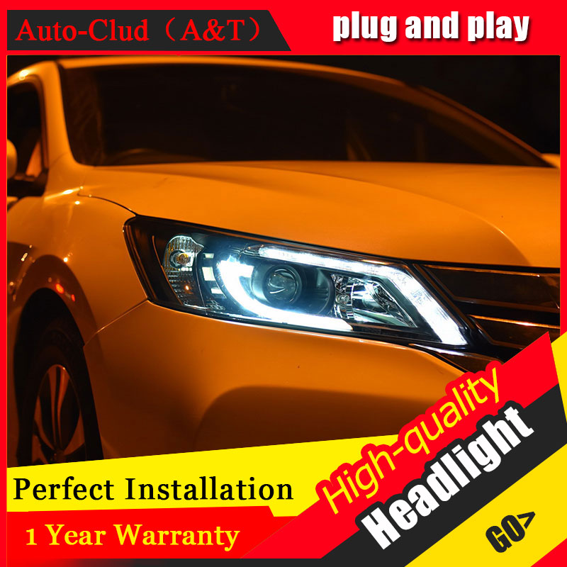 Auto Clud Car Styling For Honda Accord headlights 2014-2016 For Accord head lamp led front Bi-Xenon Lens Double Beam HID KIT car styling for honda accord headlights angel eyes 2011 2013 for honda accord head lamp h7 xenon led drl