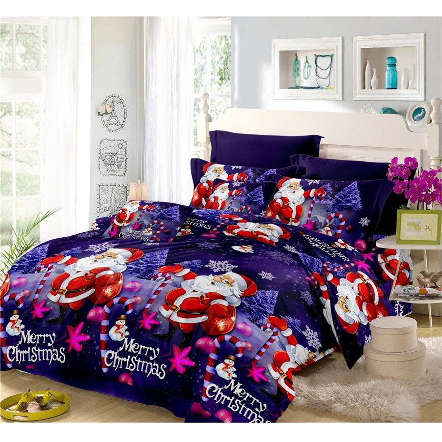 Роскошные 3D Рождество Постельное белье Санта Клаус фиолетовый пододеяльник плоский лист наволочка простыни фестиваль подарков Home Decor C35