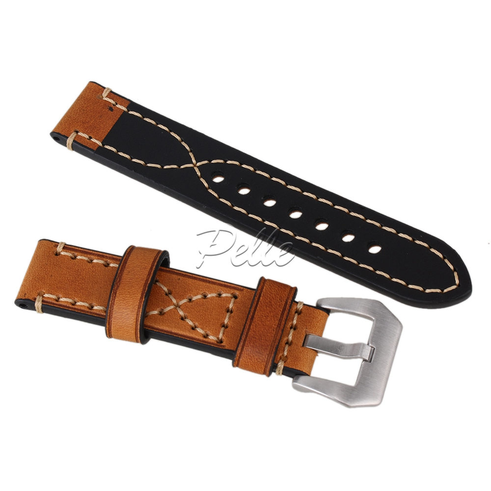 Pelle Brown 20mm 22mm 24mm Luxury Retro PU Leather Wristwatch Bands Belt Men 39 s Watch Strap in Watchbands from Watches