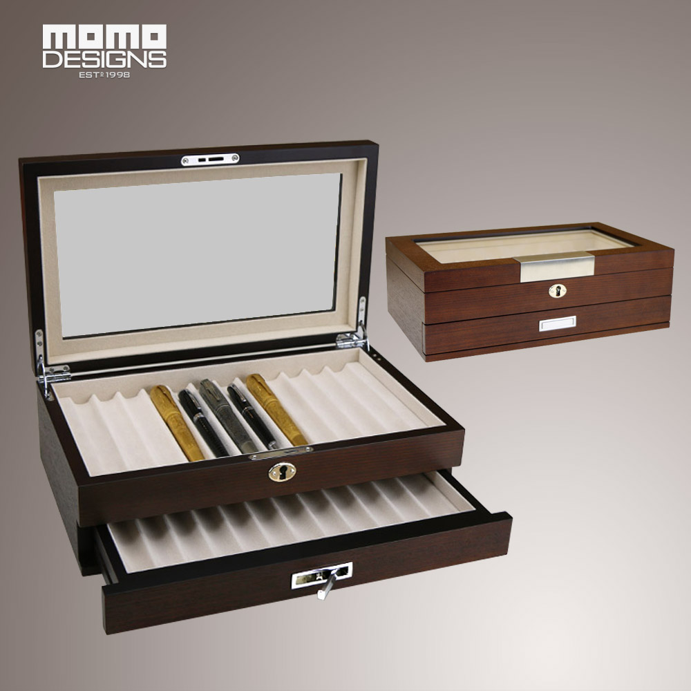 2017 New Style 24 Pcs Pen Case Wooden Pen Storage Box For Pencil Holder  Organizer With Glass Window With 1 Drawer