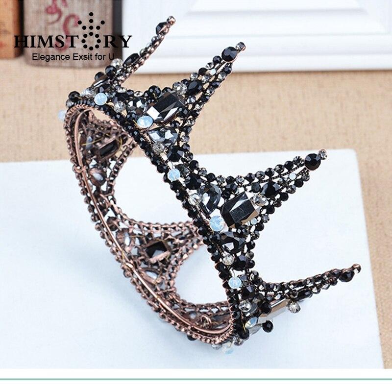 Himstory Baroque Vintage Black Rhinestone Beads Round Crown Wedding Hair Accessories Luxury Crystal Queen King Crowns