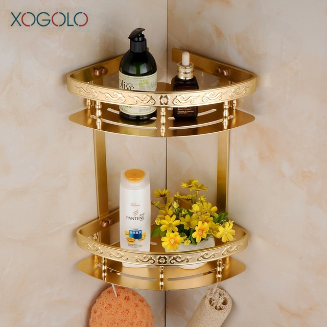 Xogolo Space Aluminum Carving Fashion Gold Double Tiers Wall Mounted Corner  Shelf Bathroom Rack Accessories Good