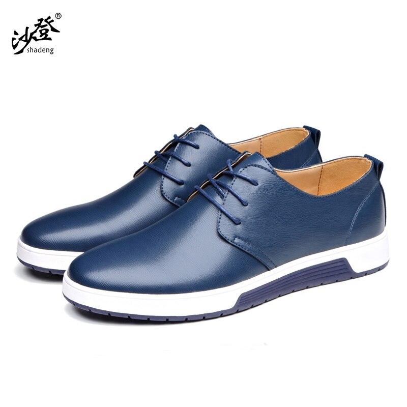 Shadeng 2018 новейшие мужские туфли на плоской подошве, кожаные, удобные, дышащие и износостойкие.