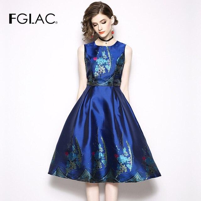FGLAC Women dress New Fashion Casual Sleeveless Summer Dress Elegant Slim  Print Vintage vestidos High waist Party dress b564b90e6