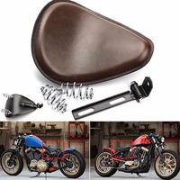Triclicks Black Brown Vintage Motorcycle Leather Solo Seat Cover 3 Spring Swivel Bracket For Harley Chopper Bobber Honda Custom