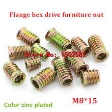 20 шт./лот M8* 15 цветной цинк покрытые фланец шестигранный привод основная мебель гайка для внутренних и внешних шуруп для деревянная вставка гайка