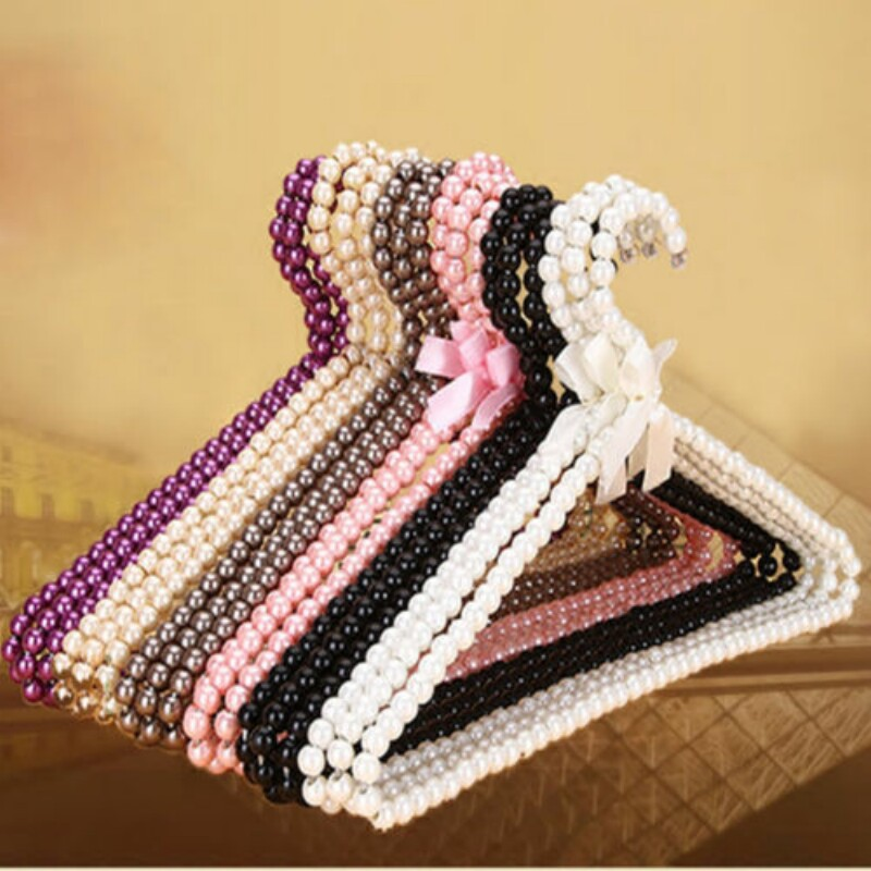 4 Colors 10KG Weight Bearing Clothes Coat Trouser Plastic Pearl Bow Hanger Grip Holder Rack For Adult