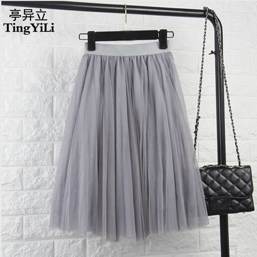 TingYiLi Tulle Skirts Womens Black Gray White Adult Tulle Skirt Elastic High Waist Pleated Midi Skirt 2016(China)