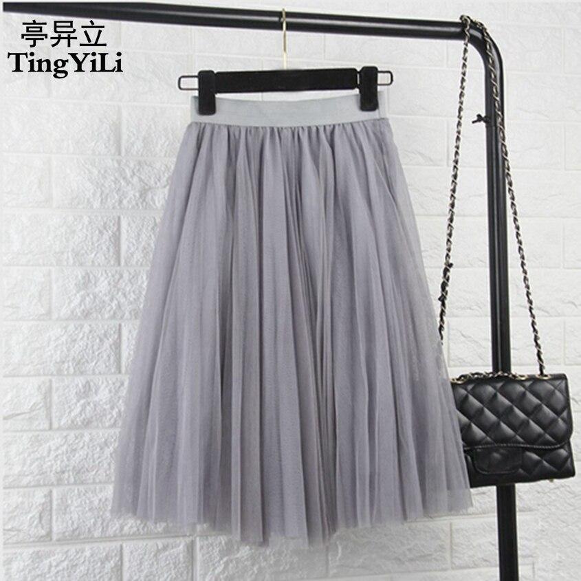 TingYiLi Tulle jupes femmes noir gris blanc adulte Tulle jupe élastique taille haute plissée Midi jupe 2016
