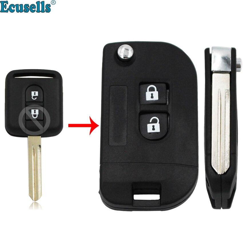2 Button Folding Remote Key Shell Case for Nissan Micra 350Z Pathfinder Navara