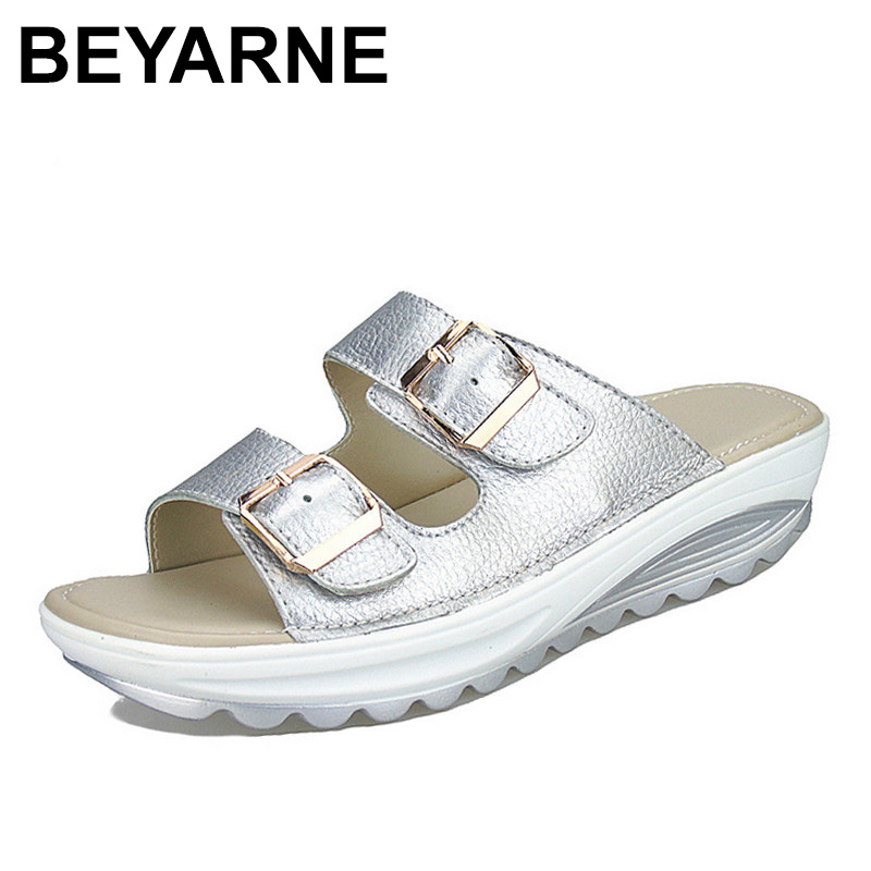 BEYARNE  Womens Sandals Slippers Buckle Beach Summer Wedges Platform Shoes Casual Candy Color Slides sandals 2016 new famous brand buckle womens flip flop sandals summer beach sandals af327