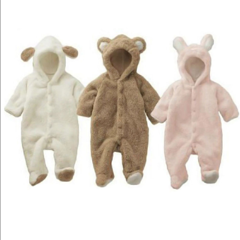Baby Newborn Baby Clothes Bear Onesie Baby Girl Boy Rompers Hooded Jumpsuit Winter Overalls For Kids Fleece Clothes