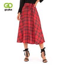 GOPLUS Elegant Plaid Pleated Skirts Women High Waist Bow tie Streetwear Midi Skirt Ladies 2019 Summer Vintage Party Female
