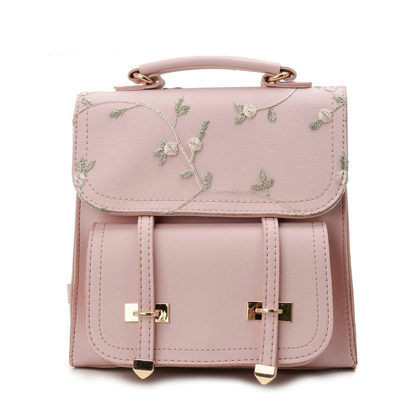 Fashion Preppy Style School Backpacks Teenage Girls High Quality Leather Women Shoulder Bags Backpack Floral Embroidery Rucksack