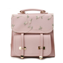 цена на Fashion Preppy Style School Backpacks Teenage Girls High Quality Leather Women Shoulder Bags Backpack Floral Embroidery Rucksack
