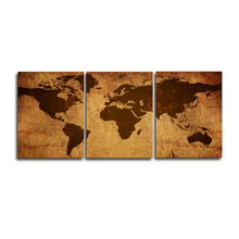 Laeacco Canvas Painting Calligraphy 3 Panel Vintage Retro World Map Posters and Prints Wall Artwork For Living Room Home Decor