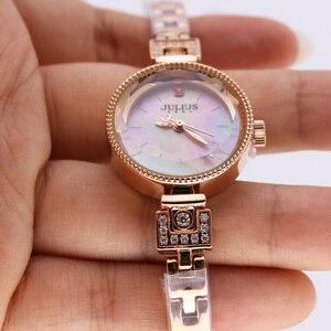 Image 2 - Mały pazur ustawienie masy perłowej Julius zegarek damski japonia Quartz godzina dzieła moda kobieta zegar łańcuch bransoletka dziewczyna pudełko