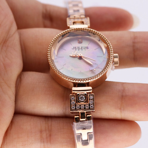 Image 2 - Small Claw setting Mother of pearl Julius Womens Watch Japan Quartz Hour Fine Fashion Woman Clock Chain Bracelet Girl Gift Box