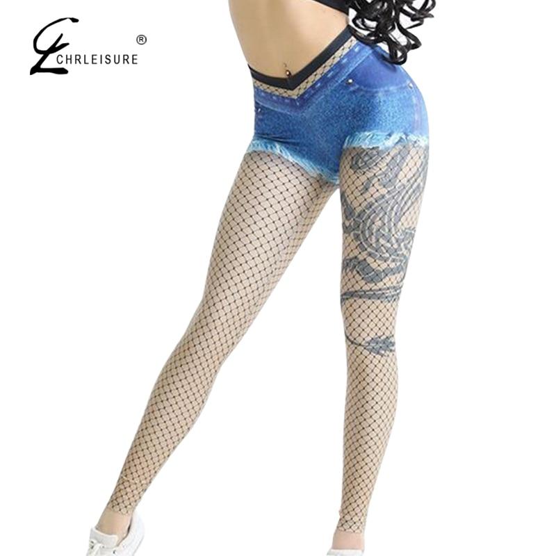 CHRLEISURE High Waisted Leggings Women 3D Imitation Cowboy Printing Legging Femme Elastic Workout Leggings
