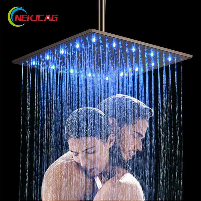LED Light 16 inch Rainfall Shower Bathroom Square Top Sprayer Oil Rubbed Bronze Or Brushed Nickel