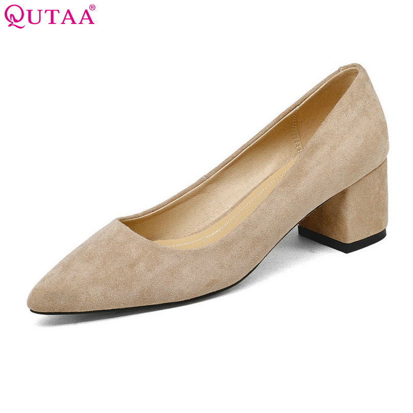 QUTAA 2018 Shoes Women Square High Heel Platform Women Pumps PU leather Pointed Toe Black Ladies Wedding Woman Shoes Size 34-43 qutaa 2017 silver women pumps thin high heel peep toe slip on platform sexy summer pu leather ladies wedding shoes size 34 43