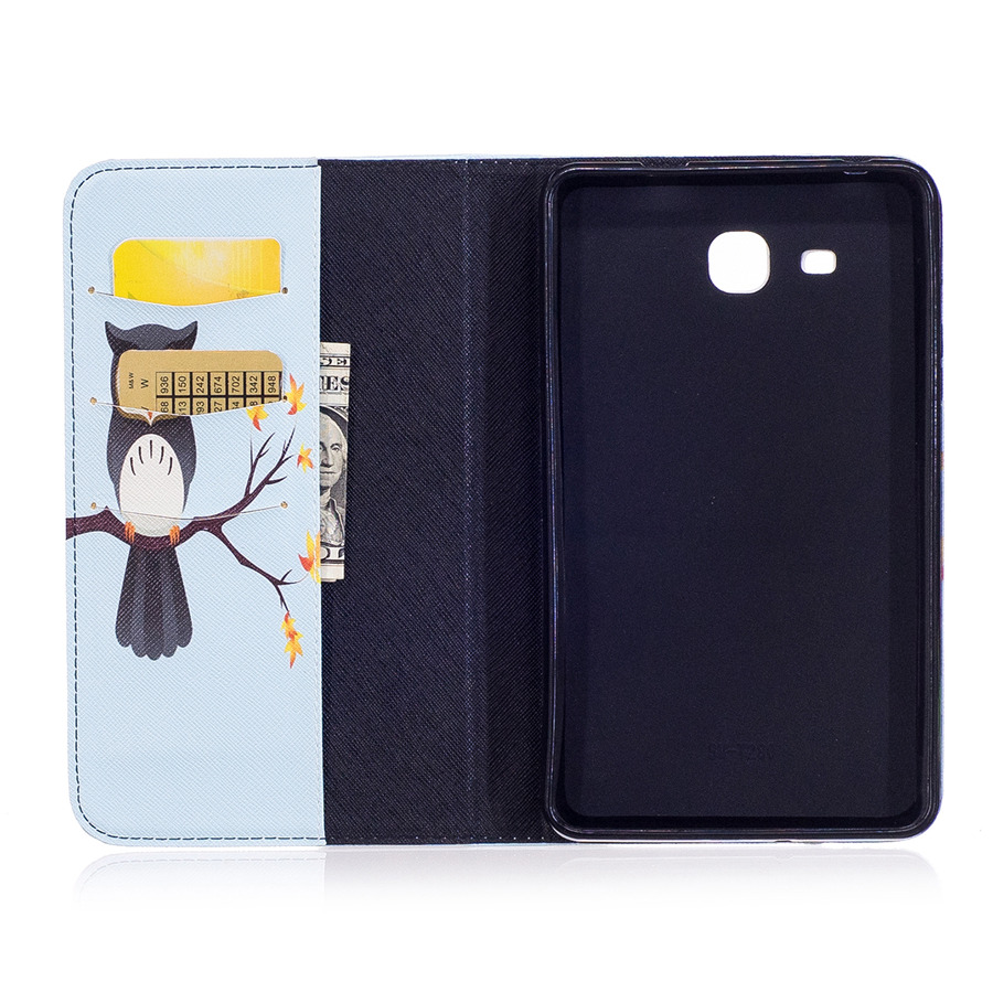 for Samsung Galaxy Tab A 7.0 2016 T280 Case Tablet Flip Cover Wallet Slim Fold Stand Leather Capa Funda Cartoon Owl Panda