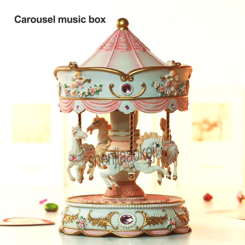 Carousel Music Box With LED Lights Automatic Lifting Merry Go Round Musical Boxes Girl Birthday Gifts Decor 1pc